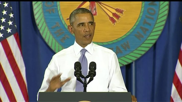Obama speaking in Durant, OK.  Durant is home to the headquarters of the Choctaw Nation of Oklahoma.